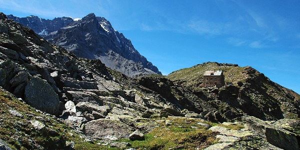 The rifugio Hintergrathütte mountain hut on the known Ortles mountain was built in 1920.