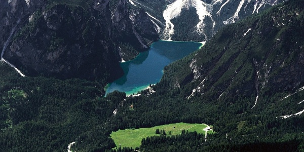 The Lake of Braies in Val Pusteria from above.