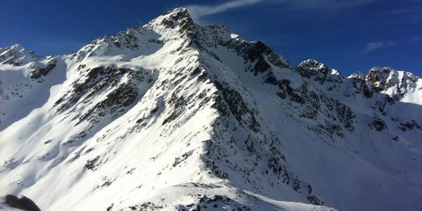 The massiv Saldur peak in Val Senales valley.