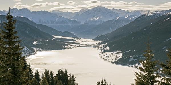 Blick auf den Reschensee und König Ortler