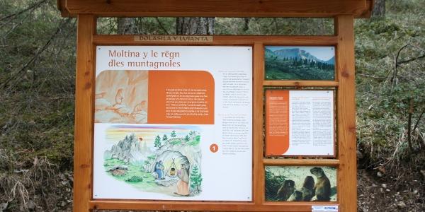 Infotafeln informieren die Wanderer über die Welt der Sagen von Fanes in St. Vigil.