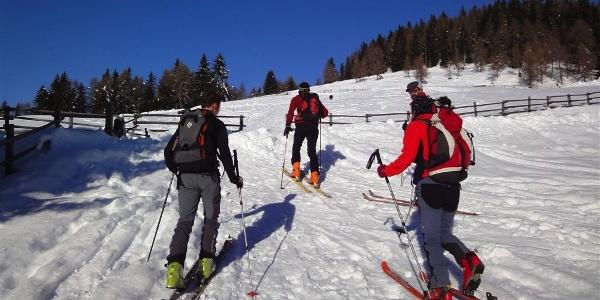 Aufstieg der Skitour über die Pertinger Alm.