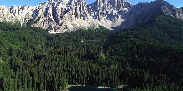 Lake Karersee and the Latemar mountain range