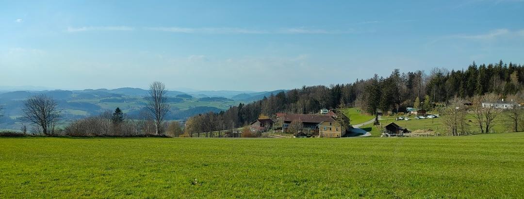 Tolles Panorama und erster Blick auf den Lamahof