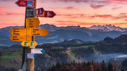Abendstimmung, im Hintergrund die Berner Alpen
