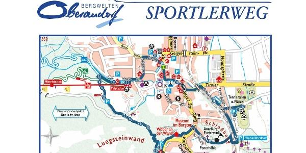 Wegverlauf mit Standorte Sportler Oberaudorfer Sportlerweg