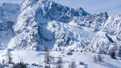 Imposante Blicke von der Gugel zum Hochkalterstock mit der Skitour auf den Hochalmkopf