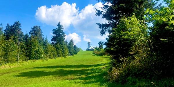 Aufstieg zum Fichtelberg  mit Blick auf Berghaus über Skipiste