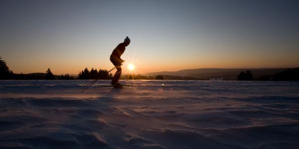 Langlauf beim Sonnenuntergang