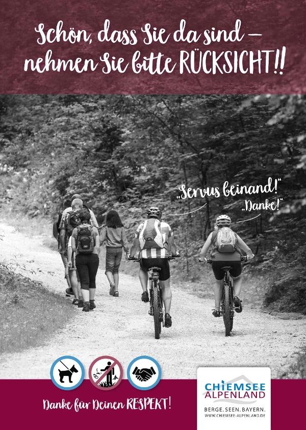 Rücksicht Wanderer-Radfahrer