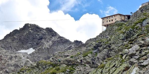 Der Weg zum Eisjöchl und die provvisorische Stettiner Hütte