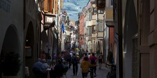 The lively Merano arcades, heart of the city.