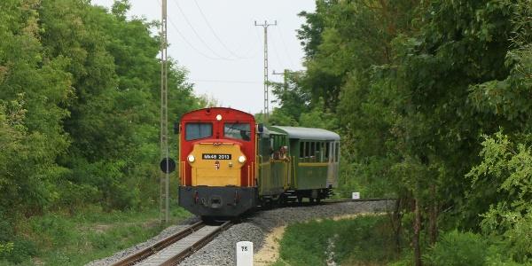 Vonat érkezik Csisztafürdő állomásra (Balatonfenyvesi kisvasút)