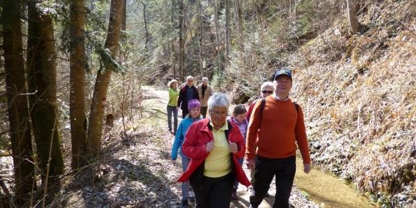 Wanderer entlang der Brühl