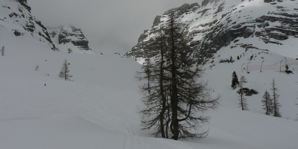 Von der Bergstation des Frauenkar-Sesselliftes in südöstliche Richtung zu den Böden des Weitkars