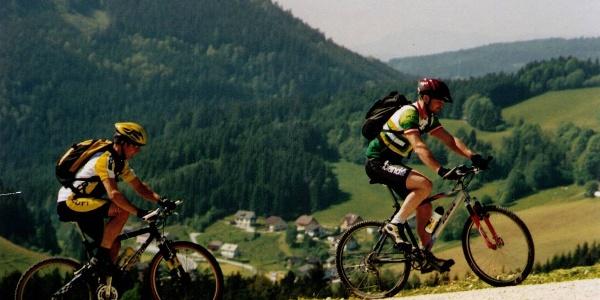 Mountainbiker am Poschweg