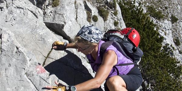 Schon beim Aufstieg muss man kräftig zupacken.