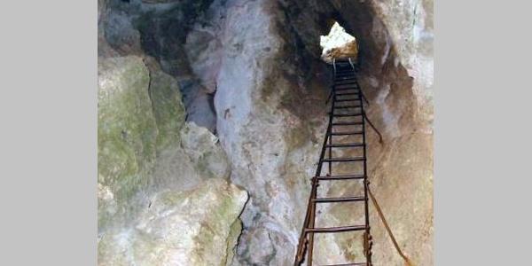 15 Meter lange Leiter am Frauenlucke-Steig.