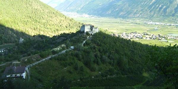 Blick auf die Burg Obermontani