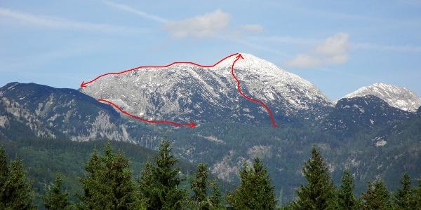 Wegverlauf oberhalb der Ischler Hütte