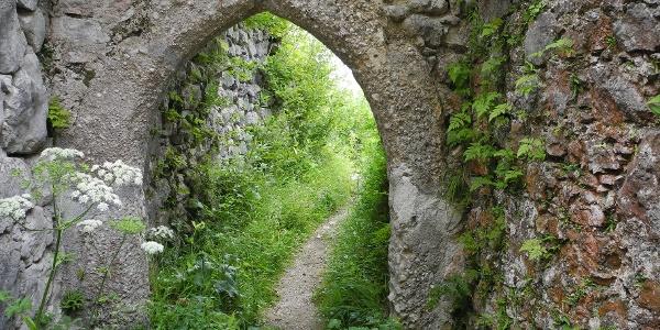 Durch diesen Torbogen betreten wir das Gelände der Ruine.