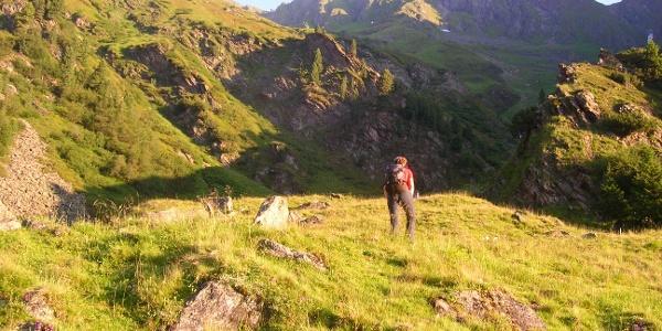Kurz nach der Oberissalm mit Blick zum Aufstiegsgelände.