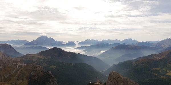 Ausblick am Gipfel des Lagazuoi