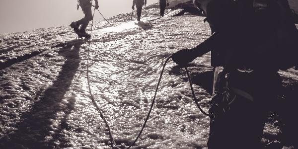 Blankeis am Grad vor dem Einstieg zur Hoch Wilde Südspitze
