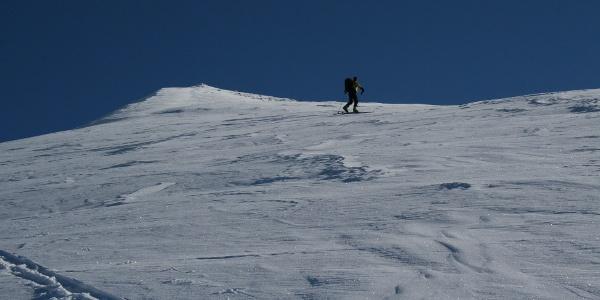 Knapp 100 Höhenmeter unterhalb des Gipfels beginnt sich der Hang etwas abzuflachen.