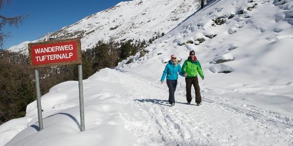 Le long du chemin de randonnée hivernale, de Sunnegga à Tufteren