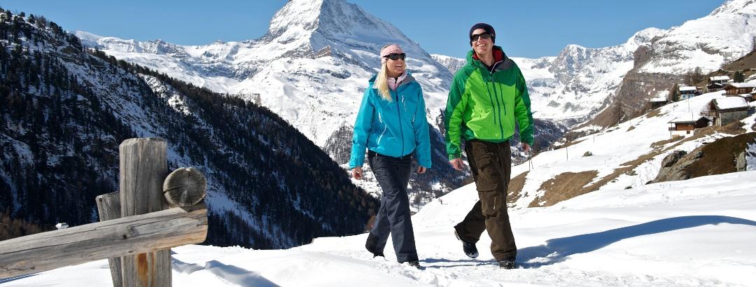 Zermatt - Sunnegga winter hiking trail with view of the Matterhorn (4,478 m)