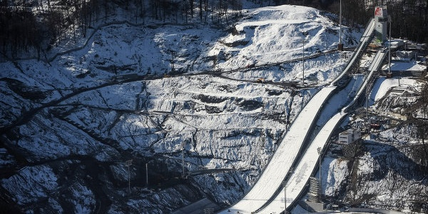 Blick auf die Skisprunganlage RusSki Gorki