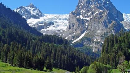 Eindrucksvoller Blick vom Reichenbachtal auf Dossen, Rosenlauigletscher, Wellhorn und Wetterhorn.
