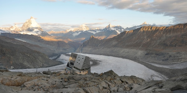 Monte Rosa hut (2,883 m), run by the Swiss Alpine Club (SAC)