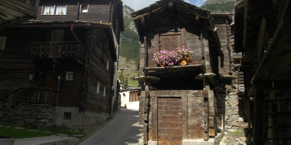 Old part of the village with traditional Valais houses and barns